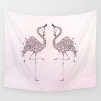 flamingo Wall Tapestries featuring Flamingo  by LouJah