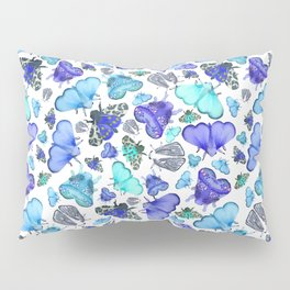 Blue Moths & Butterflies Pillow Sham