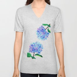 blue purple hydrangea Unisex V-Neck
