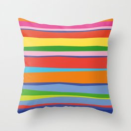 Bright Colorful Maritime Stripes Throw Pillow
