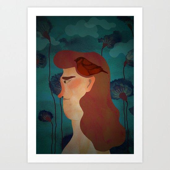lady with bird Art Print