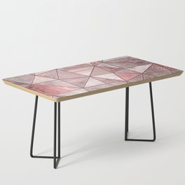 Soft Pink Coral Glamour Gemstone Triangles Coffee Table