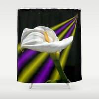 trumpet Shower Curtains featuring Trumpet Solo by SwanniePhotoArt