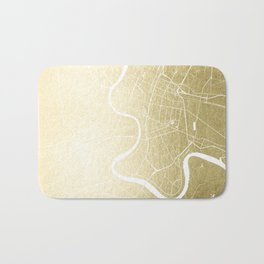 Bangkok Thailand Minimal Street Map - Gold Metallic and White Bath Mat