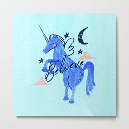 Night Sky Unicorn - Stars and Moon Metal Print