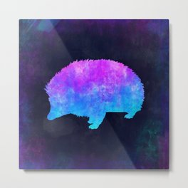 PORCUPINE IN SPACE // Animal Graphic Art // Watercolor Canvas Painting // Modern Minimal Cute Metal Print