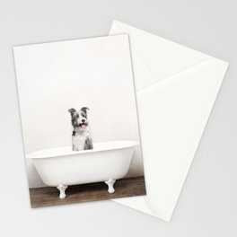Mixed Breed Dog in a Vintage Bathtub Stationery Cards