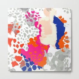 Mica - bright happy abstract painting trendy color palette modern home decor nursery art Metal Print