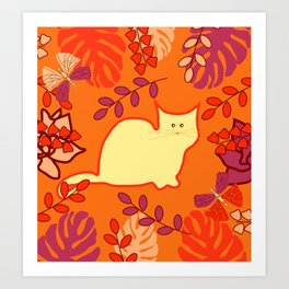 Curious cat, butterflies and leaves Art Print