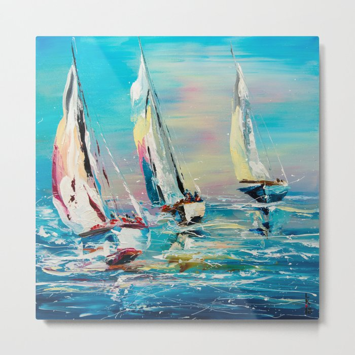 YACHTS ON THE WIND Metal Print