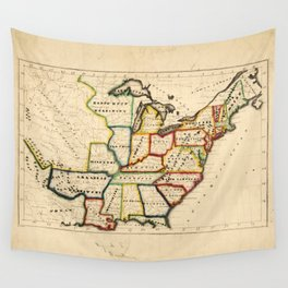 Map of the United States (circa 1819-1824) Wall Tapestry