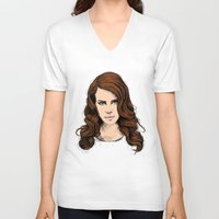 lana V-neck T-shirts featuring LANA. by paintparamore