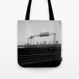 riverside cityscape, city skyline, driving in warsaw view Tote Bag