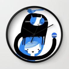 BLUE BIRD AND CAT ON HEAD Wall Clock