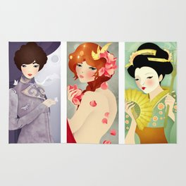 Three: Portrait Triptych Rug