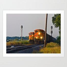 "Burlington  Northern Santa Fe Railroad Locomotives ""Changing of the Guard"" Art Print"