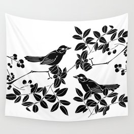 Birds on Branches, Drawing (Black on White) Wall Tapestry