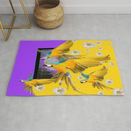 SURREAL BLUE PARROTS IN YELLOW-PRPLE DAISY WEATHER Rug
