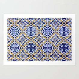 Close-up of blue, white and yellow ceramic wall tiles in Tavira, Portugal Art Print