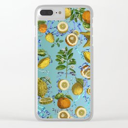 vintage lemons and oranges on ribbons of blue Clear iPhone Case