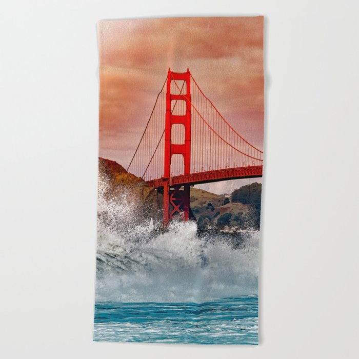 Waves over Red Bridge Beach Towel