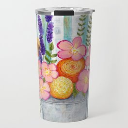 Old chair with flowers Travel Mug