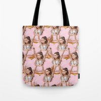 ariana grande Tote Bags featuring Grande Donuts by vllancourt