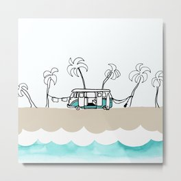 Surfer Van - Surf Art - Gone Surfing Metal Print