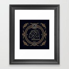 Aquarius Zodiac Golden White on Black Background Framed Art Print