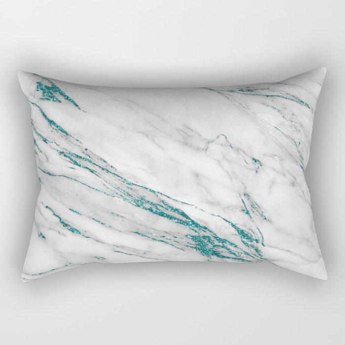 Gray Marble Aqua Teal Metallic Glitter Foil Style Rectangular Pillow