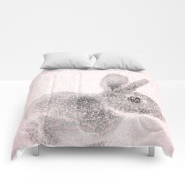 Rabbit in pink and gray, Baby Animal mosaic Comforters