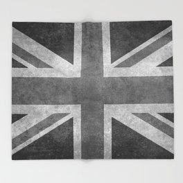 Union Jack Vintage 3:5 Version in grayscale Throw Blanket