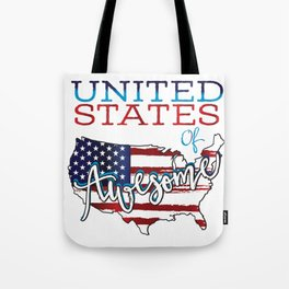 United States Of Awesome USA Flag graphic Tote Bag