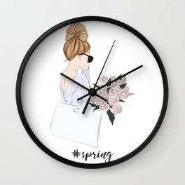Girl with bouquet Wall Clock