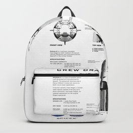 NASA SpaceX Crew Dragon Spacecraft & Falcon 9 Rocket Blueprint in High Resolution (white) Backpack
