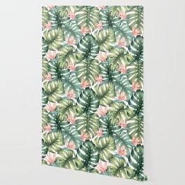 Tropical monstera / Bird of Paradise Wallpaper