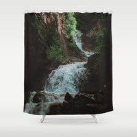 alaska Shower Curtains featuring Alaska Waterfall by Leah Flores