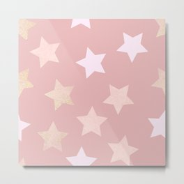 sweet pastel dusty pink golden colors stars pattern Metal Print