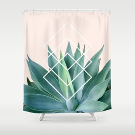 Agave geometrics - peach Shower Curtain