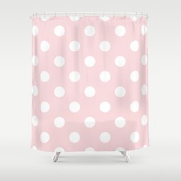 Polka Dots - White on Light Pink Shower Curtain