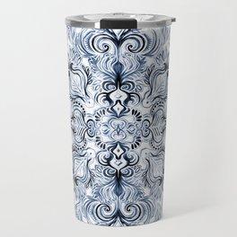 Indigo, Navy Blue and White Calligraphy Doodle Pattern Travel Mug