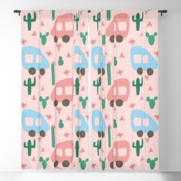 Camper Vans in Blue and Pink with Green Cactus and Pink Flowers Blackout Curtain