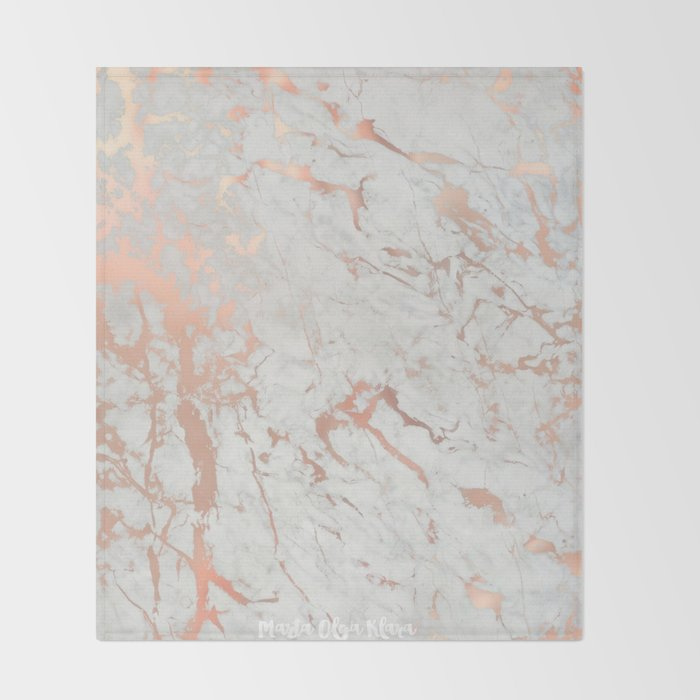 Rose gold marble Throw Blanket