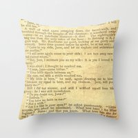jane eyre Throw Pillows featuring Jane Eyre, Mr. Rochester First Marriage Proposal by Charlotte Bronte by ForgottenCotton