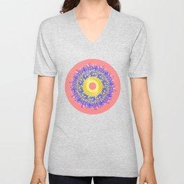 Mandala #105, Peach and Sunshine Unisex V-Neck