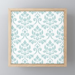 Feuille Damask Pattern Duck Egg Blue on White Framed Mini Art Print