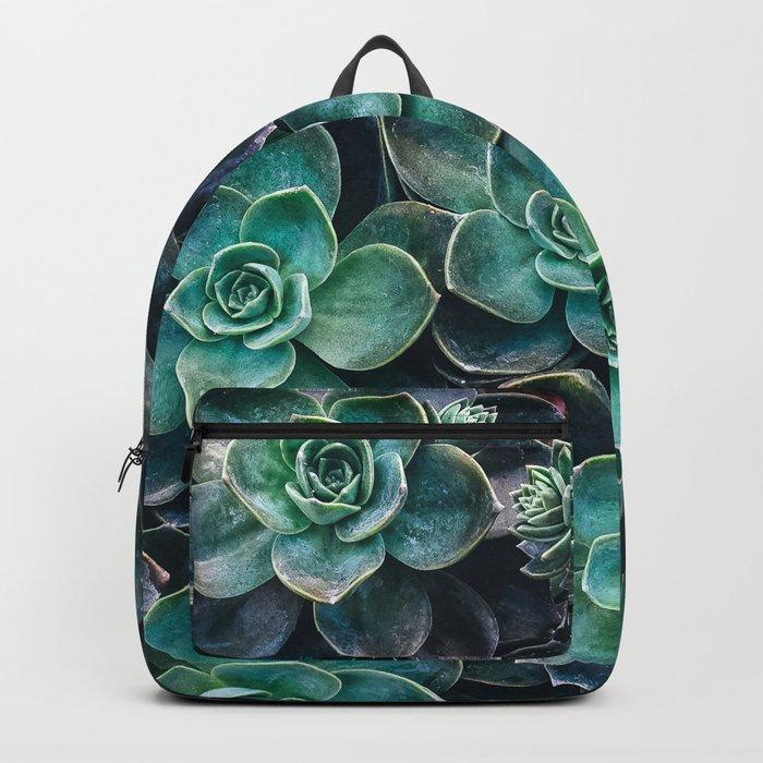 Succulent Blue Green Plants Backpack
