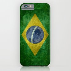 Vintage Brazilian flag with football (soccer ball) iPhone 6s Slim Case