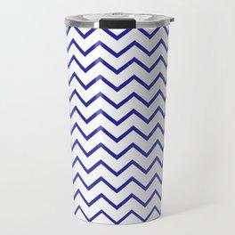 Zigzagged (Navy & White Pattern) Travel Mug