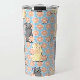 Lucky Cats with Cherry Blossoms Travel Mug